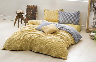 Soren Ranforce Duvet Cover Set Sarı