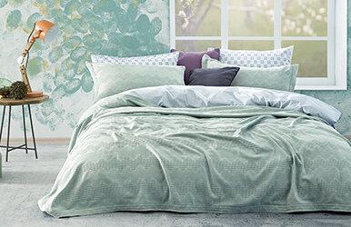 Aras Bedspread Set Su Yeşili