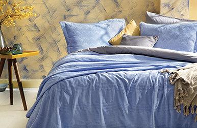 Aras Yatak Örtüsü Seti Mavi