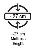 Yaklaşık 27 cm yatak yüksekliği