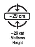 Yaklaşık 29 cm yatak yüksekliği