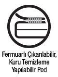 Fermuarlı çıkarılabilir, kuru temizleme yapılabilir ped
