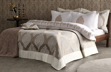 Mirella 10-Piece Dowry Set including Embroidered Duvet Cover and Evening Bedspread Set Vizon