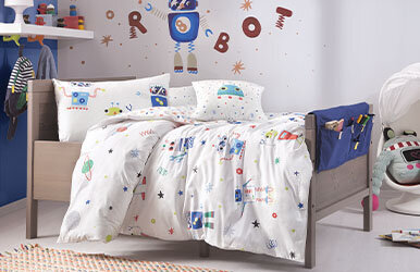Robot Kid Child Ranforce Duvet Cover Set