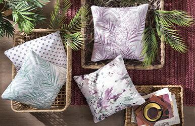 July Printed Decorative Pillow Mavi