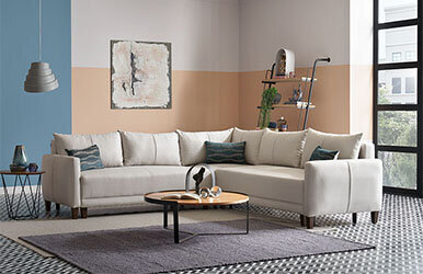 Enza Home Smart L Corner Sofa Set Açık Gri
