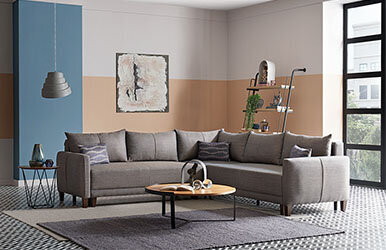 Enza Home Smart L Corner Sofa Set Kahverengi