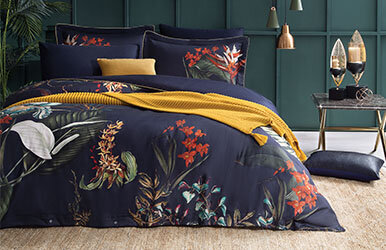 Albero Satin Duvet Cover Set Lacivert