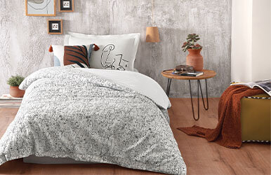 Abstre Ranforce Duvet Cover Set Beyaz/Gri