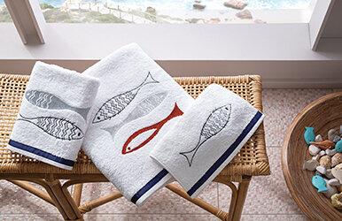 Lida Banyo Havlusu Lacivert/Beyaz